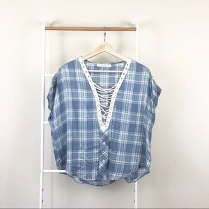 Dreamers Plaid Lightweight Boxy Lace Up Top